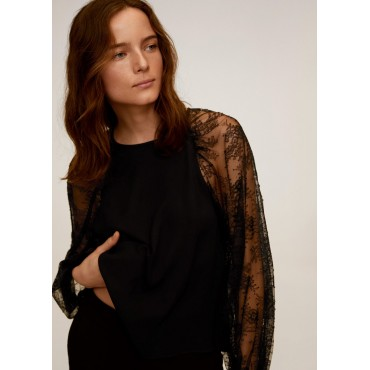 Lace sleeves blouse