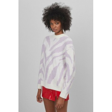 Womens-Beige-Zebra-Patterned-Sweater-93041181