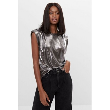 Womens-Silver-80s-Model-Padded-Shiny-Top-87104541