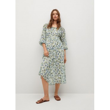 Printed-dress-with-puff-sleeves