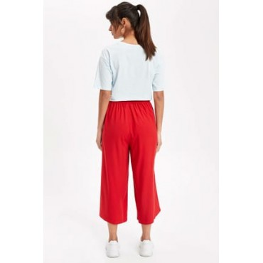 Burgundy Culotte Trousers RED