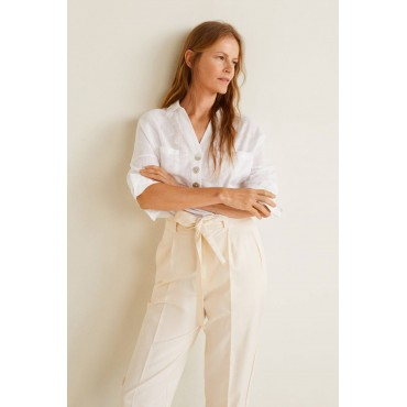 Women's Off White Buttoned...